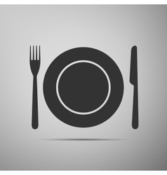 Platefork and knife flat icon on grey background vector