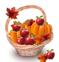 pumpkins and apples in a basket autumn season vector image vector image