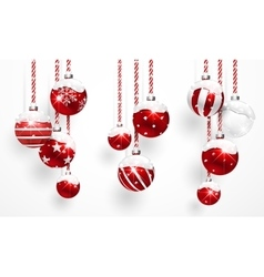 Red Christmas Balls with Snow vector image vector image
