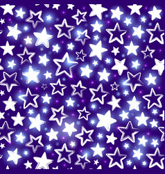Seamless pattern with shining stars on purple vector