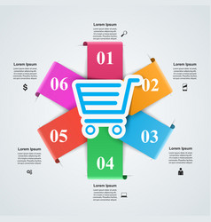 Shop infographic marceting icon buy and sell vector