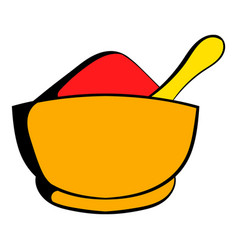 Spice in ceramic bowl icon cartoon vector