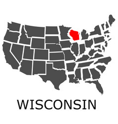 state of wisconsin on map of usa vector image