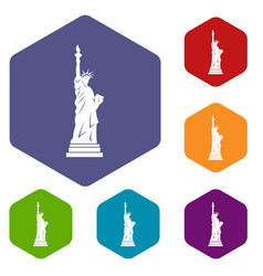 Statue of liberty icons set hexagon vector