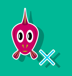 sticker aquarium fish silhouette colorful vector image vector image