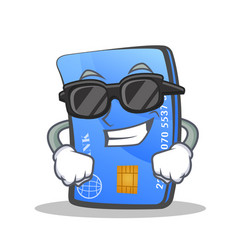 Super cool credit card character cartoon vector