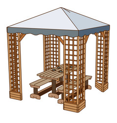 table outdoor icon wooden chair picnic bench park vector image