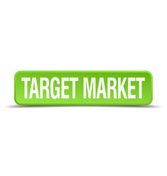 Target market green 3d realistic square isolated vector