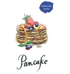 Watercolor pancakes with berries and maple syrup vector