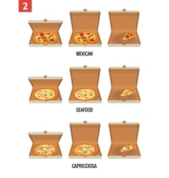 Whole pizza and slices of pizza in open and semi vector