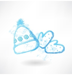 Winter hat and mittens grunge icon vector image vector image