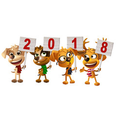 yellow dog symbol of year 2018 funny puppy group vector image