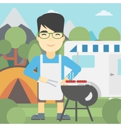 Man having barbecue in front of camper van vector