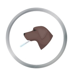 Dog with thermometer icon in cartoon style vector