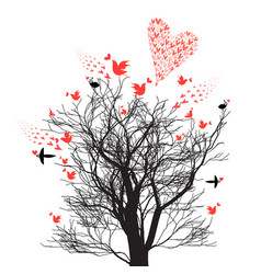 Graphics design tree with love birds and hearts vector