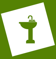 Bathroom sink sign white icon obtained as vector