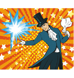 pop art of magician performing vector image