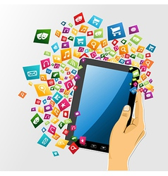 Human hand digital tablet pc app icons vector image