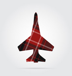 Red black tartan isolated icon - fighter vector