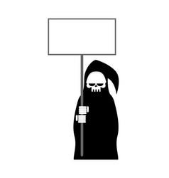 Grim reaper with empty billboard plate death in vector
