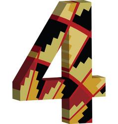 3d font number 4 vector