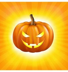 Sunburst Background With Pumpkin vector image