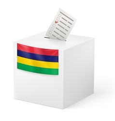 Ballot box with voting paper mauritius vector
