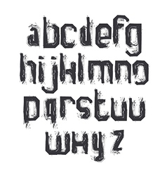 Alphabet letters set hand-drawn monochrome script vector