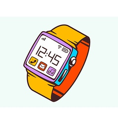 Red smart watch with button on white back vector