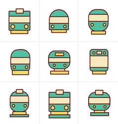 Icons style set of transport icons - train and tra vector
