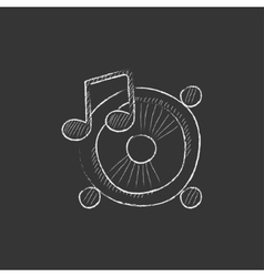 Loudspeakers with music note drawn in chalk icon vector