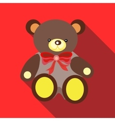 Toy bear icon flat style vector