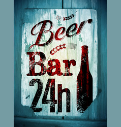 beer bar vintage grunge style poster vector image vector image