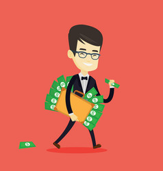 Business man with briefcase full of money vector