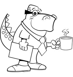 cartoon dinosaur holding a coffee cup vector image vector image