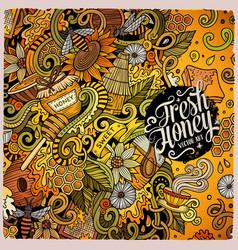 Cartoon doodles honey frame design vector
