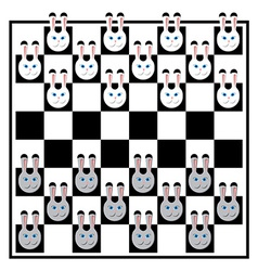 Chess board with rabbits vector image