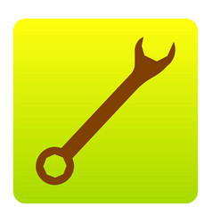 Crossed wrenches sign brown icon at green vector