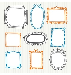Cute hand drawn frames vintage photo frames vector