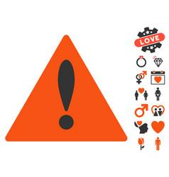 danger icon with love bonus vector image vector image