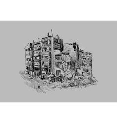 Destroyed building vector