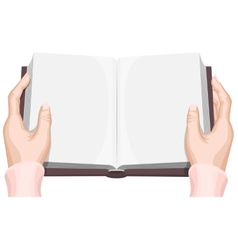 Female hands holding an open book vector
