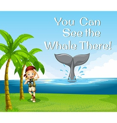 Girl watching whale in the ocean vector image