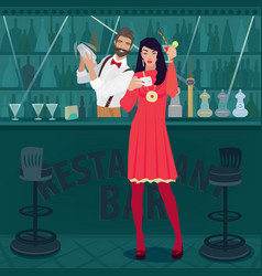 girl with cocktail making selfie photo at the bar vector image vector image