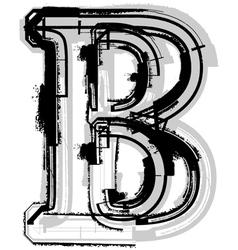 Grunge font letter b vector