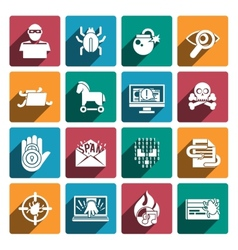Hacker icons white set vector image vector image