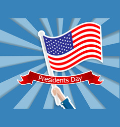 happy presidents day hand holding usa flag vector image vector image