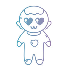 Line nice baby boy with pijama and hairstyle vector