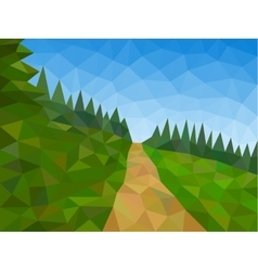 Low poly mountains with blue sky and path vector