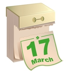 March 17 St Patrick Day Tear-off calendar March vector image vector image